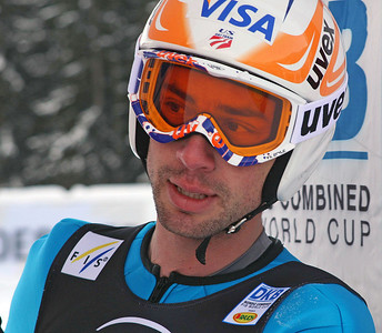 Johnny Spillane at the FIS Nordic Combined World Cup in Ramsau, Austria. (FIS/Egon Theiner)