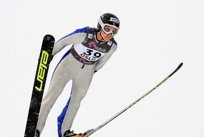 American Jessica Jerome jumps in training at the 2011 FIS Nordic Ski World Championships at Holmenkollen in Oslo. (c) 2011 U.S. Ski Team