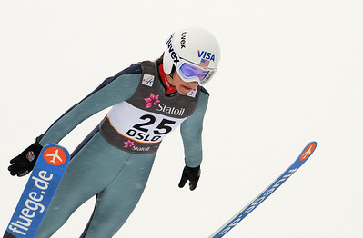 American Sarah Hendrickson jumps in training at the 2011 FIS Nordic Ski World Championships at Holmenkollen in Oslo. (c) 2011 U.S. Ski Team