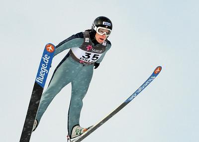 American Lindsey Van jumps in training at the 2011 FIS Nordic Ski World Championships at Holmenkollen in Oslo. (c) 2011 U.S. Ski Team