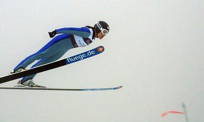 Lindsey Van flies through the fog in the women's ski jumping event at the 2011 FIS Nordic Ski World Championships at Holmenkollen in Oslo. (c) 2011 U.S. Ski Team