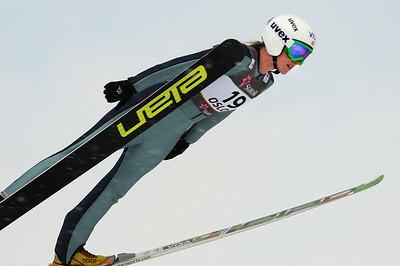 American Alissa Johnson jumps in training at the 2011 FIS Nordic Ski World Championships at Holmenkollen in Oslo. (c) 2011 U.S. Ski Team