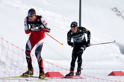Bryan Fletcher attacks Austria's Bernhard Gruber during the normal hill nordic combined team event at the 201 FIS Nordic World Ski Championships at Holmenkollen in Oslo, Norway. (c) 2011 U.S. Ski Team
