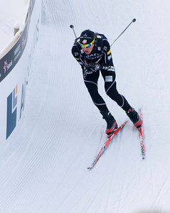 Billy Demong attacks the final corner into the finish during the normal hill nordic combined team event at the 201 FIS Nordic World Ski Championships at Holmenkollen in Oslo, Norway. (c) 2011 U.S. Ski Team