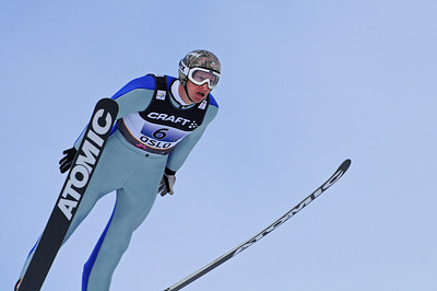 Todd Lodwick soars during the normal hill nordic combined team event at the 201 FIS Nordic World Ski Championships at Holmenkollen in Oslo, Norway. (c) 2011 U.S. Ski Team
