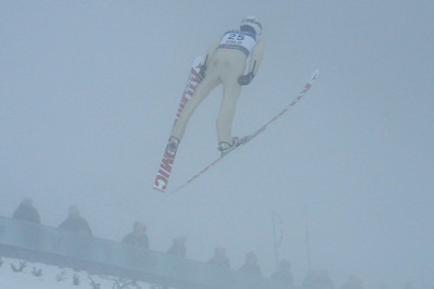 Johnny Spillane soars through a cloud foggy morning for the nordic combined normal hill ski jumping event at Midstubakken at the 2011 FIS Nordic Ski World Championships at Holmenkollen in Oslo. (c) 2011 U.S. Ski Team
