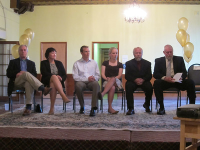 (l-r) Former U.S. Ski Team coach Larry Stone, Helen Demong, Billy Demong, Katie Demong, Leo Demong and Town of Franklin Supervisor Art Willman at the Walk of Fame ceremony held at the historic Hotel Saranac in Saranac Lake, NY on Saturday, May 14, 2011 (Doug Haney/U.S. Ski Team)