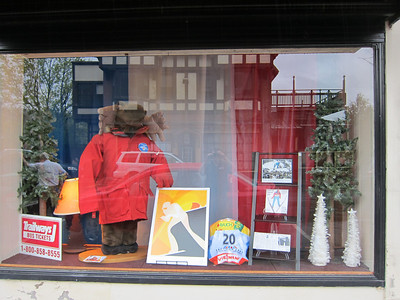 Window displays honor Walk of Fame inductee Billy Demong at the historic Hotel Saranac in Saranac Lake, NY on Saturday, May 14, 2011 (Doug Haney/U.S. Ski Team)