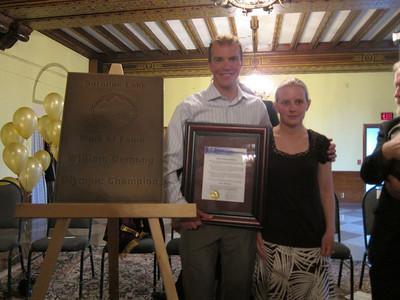 Billy and Katie Demong at the Walk of Fame ceremony held at the historic Hotel Saranac in Saranac Lake, NY on Saturday, May 14, 2011 (Doug Haney/U.S. Ski Team)