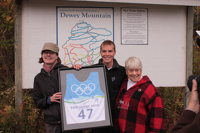 Olympic champion Billy Demong with Mary Thill (l) and Natalie Leduc (r), members of the Dewey Mountain Board of Directors, during a fundraising launch in Saranac Lake, NY (Doug Haney/U.S. Ski Team)