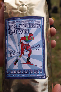 "Specially roasted ""Hammer Down"" blend roasted by Adirondack Bean-To in support of a fundraising effort for Billy Demong's home ski area of Dewey Mountain, NY (Doug Haney/U.S. Ski Team)"