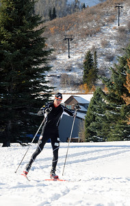 Olympic champion Billy Demong gets in some early season training after a huge snowfall at the home of the U.S. Ski Team in Park City, Utah.