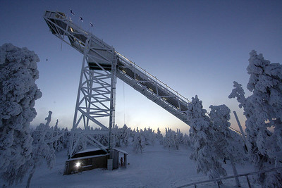 The ski jump towers above the Ruka Ski Area north of Kuusamo, Finland, site of the opening nordic events of the FIS World Cup. (FIS/Horst Nilgen)