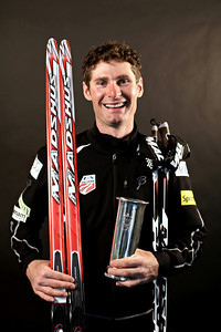 Bryan Fletcher displays the King's Cup after winning the large hill individual Gundersen at Holmenkollen March 10, 2012. Photo © Sarah Brunson/U.S. Ski Team