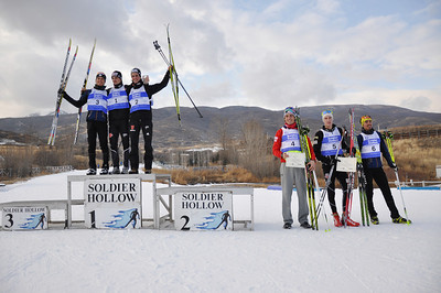 Geoffrey LaFarge, France (3rd place), Mark Schlott, Germany (1st place), Michael Duenkel, Germany (2nd place), Philipp Orter, Austria (4th place), Adam Loomis, USA (5th place), Samuel Guy, France (6th place) 2011 FIS Continental Cup at Soldier Hollow (Lake Placid reschedule).  Normal Hill/10k, Wednesday, Dec. 14, 2011 Photo: Katie Perhai/U.S. Ski Team