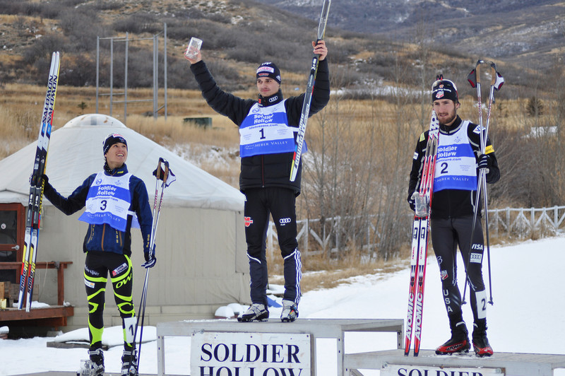 Geoffrey LaFarge, France (3rd place), Mark Schlott, Germany (1st place), Taylor Fletcher, USA (2nd place)<br /> 2011 FIS Continental Cup at Soldier Hollow (Lake Placid reschedule). <br /> Normal Hill/10k<br /> Photo: Katie Perhai/U.S. Ski Team
