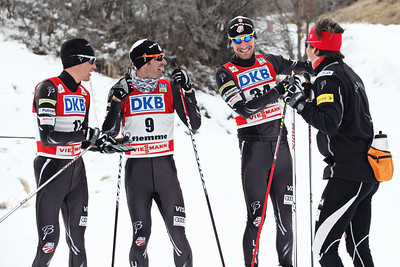 2011-12 Nordic Team  (l-r) Billy Demong, Bryan Fletcher, Taylor Fletcher, Coach Dave Jarrett Photo: Sarah Brunson/U.S. Ski Team