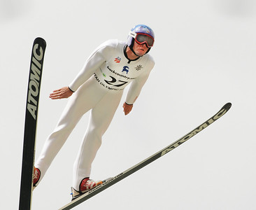Olympic Champion Billy Demong flies through the air at the U.S. Ski Jumping Championships on the 120 meter hill at the Utah Olympic Park in Park City. (c) 2011 USSA/Tom Kelly