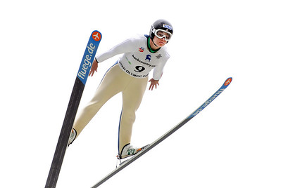 World Champion  Lindsey Van flies at the U.S. Ski Jumping Championships on the 120 meter hill at the Utah Olympic Park in Park City. (c) 2011 USSA/Tom Kelly