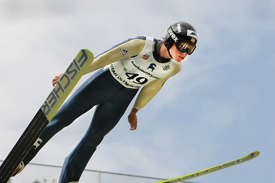 Chris Lamb flies to silver at the U.S. Ski Jumping Championships on the 120 meter hill at the Utah Olympic Park in Park City. (c) 2011 USSA/Tom Kelly