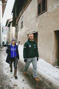 Sarah Hendrickson and her coach, Paolo Bernardi walk through Paolo's hometown of Predazzo,  where Sarah Hendrickson won her World Championship ski jumping gold medal.  2013 Nordic World Championships in Val di Fiemme, Italy Photo: Sarah Brunson/U.S. Ski Team