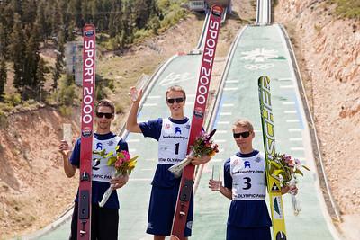 Men's USA podium: Nicholas Alexander (2nd), Nicholas Fairall (2st) and Chris Lamb (3rd) 2013 U.S. Ski Jumping Championships at the Utah Olympic Park in Park City, UT. Photo: Sarah Brunson/U.S. Ski Team