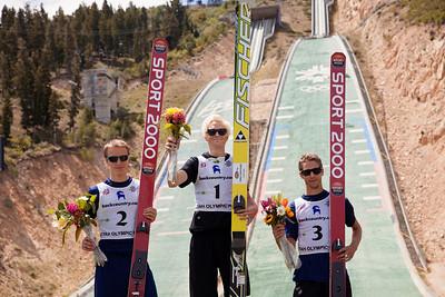 Men's podium: Nicholas Fairall (2nd), Makenzie Boyd-Clowes (1st) and Nicholas Alexander (3rd)  2013 U.S. Ski Jumping Championships at the Utah Olympic Park in Park City, UT. Photo: Sarah Brunson/U.S. Ski Team