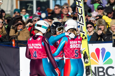 (l-r) Abby Hughes, Jessica Jerome and Alissa Johnson 2014 Olympic Trials for Ski Jumping at Utah Olympic Park Ski Jumping Photo: Sarah Brunson/U.S. Ski Team