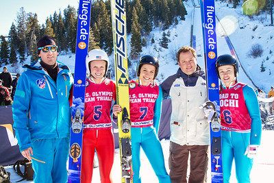 Coach Alan Alborn, Alissa Johnson, Jessica Jerome, Andrew Cohen with Visa and Lindsey Van 2014 Olympic Trials for Ski Jumping at Utah Olympic Park Ski Jumping Photo: Sarah Brunson/U.S. Ski Team