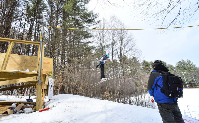 KRISTOPHER RADDER — BRATTLEBORO REFORMER<br /> Jumpers compete at the first ski jump competition held at Living Memorial Park in 15 years on Saturday, Feb. 29, 2020.