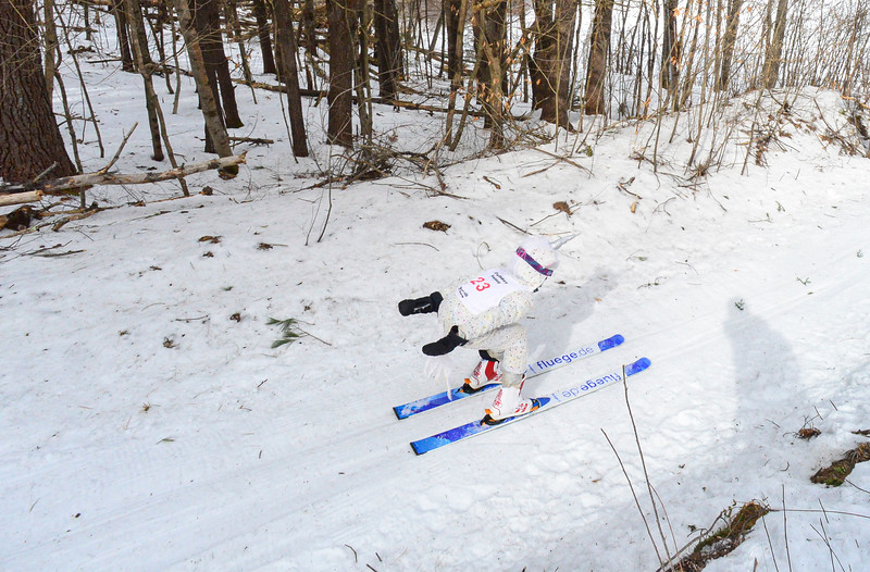 KRISTOPHER RADDER — BRATTLEBORO REFORMER<br /> Senja Cox, from the Harris Hill Nordic, goes down the inrun of the 5-meter jump at Living Memorial Park during the first competition in 15 years at the park on Saturday, Feb. 29, 2020.