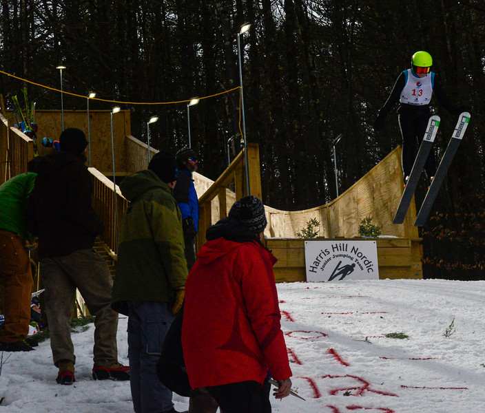 KRISTOPHER RADDER — BRATTLEBORO REFORMER<br /> Braylen D'Amore, from SWSA, goes off the 18-meter jump at Living Memorial Park during the first competition in 15 years at the park on Saturday, Feb. 29, 2020.