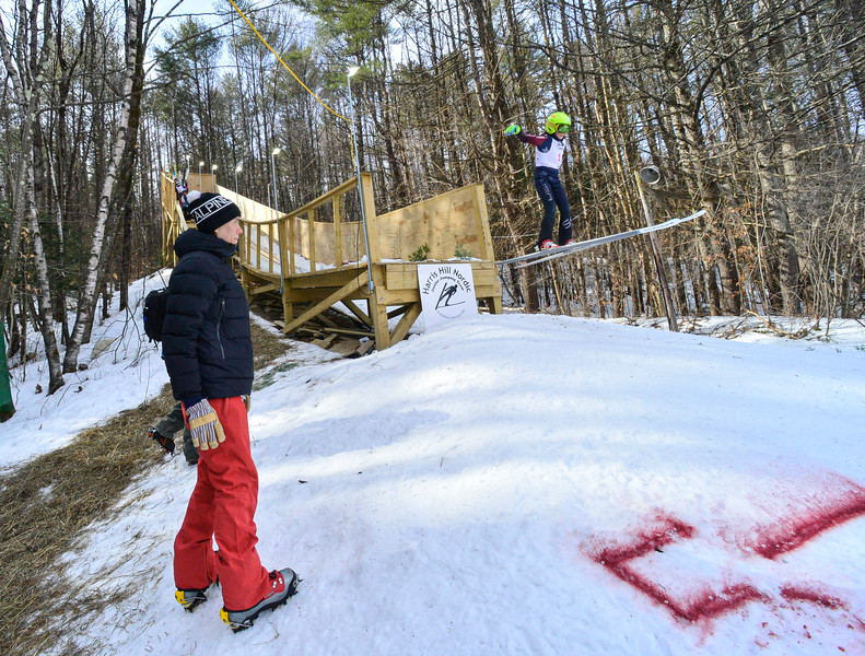 KRISTOPHER RADDER — BRATTLEBORO REFORMER<br /> People watch as Matthew Tourville, from LOC, goes off the 18-meter jump at Living Memorial Park during the first competition in 15 years at the park on Saturday, Feb. 29, 2020.