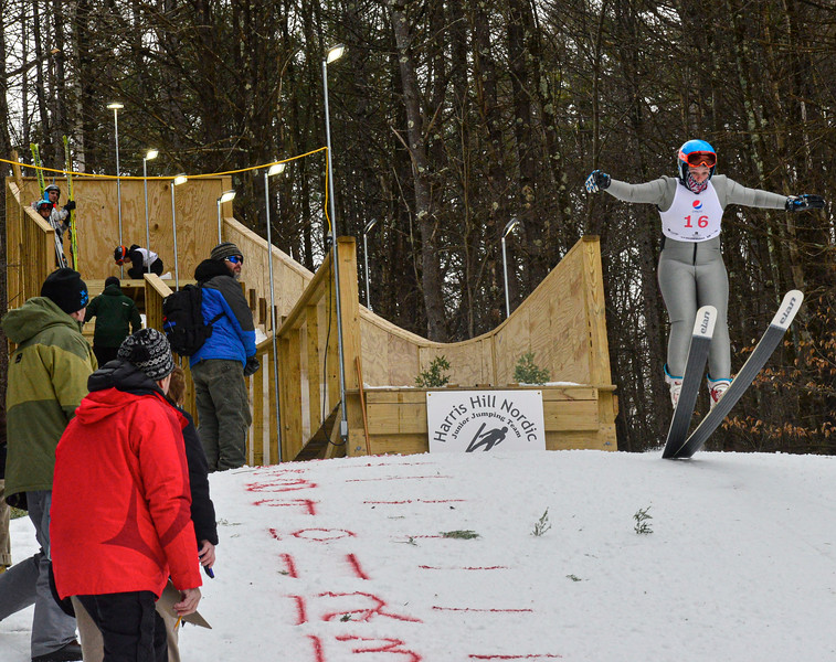 KRISTOPHER RADDER — BRATTLEBORO REFORMER<br /> Morgan Summertime, from LOC, goes off the 18-meter jump at Living Memorial Park during the first competition in 15 years at the park on Saturday, Feb. 29, 2020.