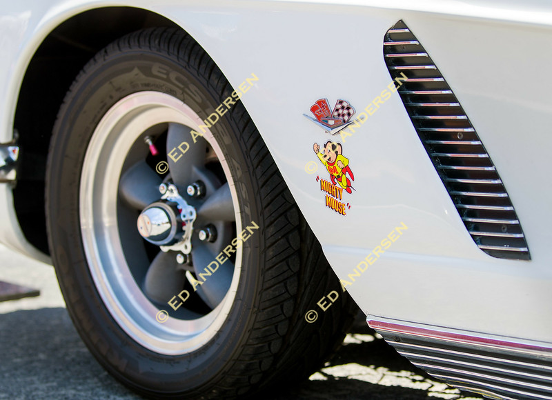 """A """"Mighty Mouse"""" decal adorns a 400 cubic inch 1962 Chevrolet Corvette owned by Marty and Mary Meckler."""