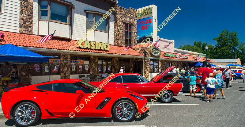 Cars from various eras are displayed in downtown Yerington.