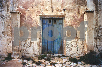 Blue doors and columns at San Ginés de la Jara Monastery, June 1988