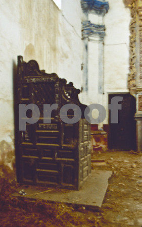 Confession box inside the derelict chapel of San Ginés de la Jara Monastery, June 1988