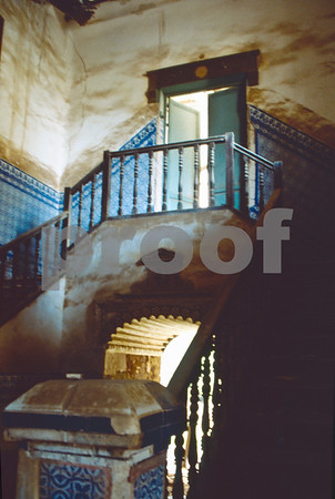 Stairways to an upper-level of the chapel at San Ginés de la Jara Monastery, June 1988