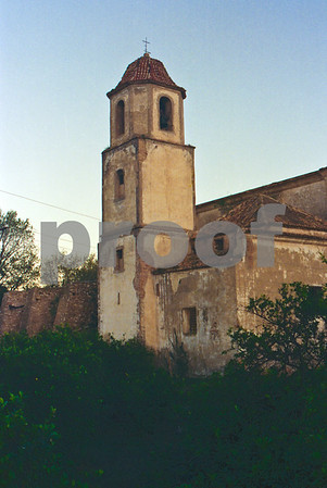 The bell-tower surrounded by orange groves at San Ginés de la Jara Monastery, June 1988