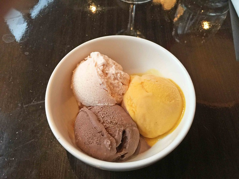 Trio of chocolate and vanilla ice cream, and mango sorbet.