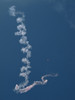 A SkyHawk jumper leaves smoke spirals before his canister system quits.<br /> <br /> Over Royal Roads, Victoria, BC.