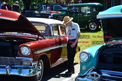 6/18/2016 Mike Orazzi | Staff Mike Aaron talks with Don Naples inside his 1956 Chevy during the annual Klingberg Auto Show in New Britain on Saturday.