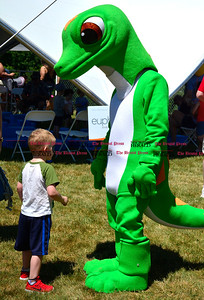 6/18/2016 Mike Orazzi | Staff Brennen Vancott (name is correct) and the Geico mascot during the annual Klingberg Auto Show in New Britain on Saturday.