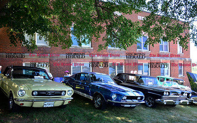 6/18/2016 Mike Orazzi | Staff Cassic cars in the shade during the annual Klingberg Auto Show in New Britain on Saturday.