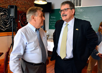 6/8/2016 Mike Orazzi | Staff Richard Piotrowski (left) talks with state senate candidate Michael Nicastro during a fundraiser at Barley Vine in Bristol Wednesday.