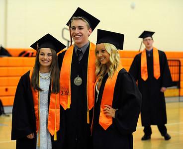 6/8/2016 Mike Orazzi | Staff Terryville High Schools graduates Milyssa Raboin, Josh Tellier and Skylar Makara Wednesday night at THS in Plymouth.