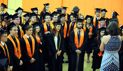 6/8/2016 Mike Orazzi | Staff Terryville High Schools graduates listen to instructions from math teacher and class advisor Jessica Hurd Wednesday night at THS in Plymouth.