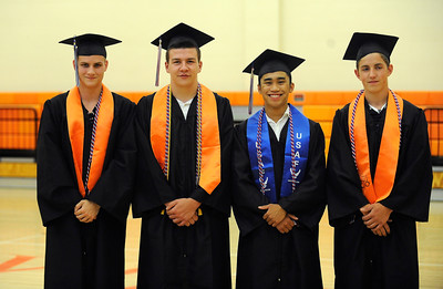 6/8/2016 Mike Orazzi | Staff Terryville High Schools graduates entering the military Cody Bouteiller, Aaron Saindon, Michael Calderon and Dillon Cyr Wednesday night at THS in Plymouth.