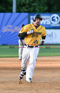 060916 Wesley Bunnell   Staff  New Britain took on the Somerset Patriots on Thursday evening at New Britain Stadium Craig Maddox #24 around the bases after a solo home run.